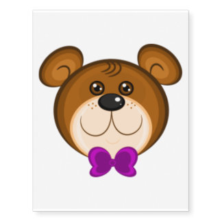 Cute Boy Teddy Bear Head Large Temporary Tattoo