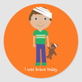 Cute Boy With Bandage I Was Brave Today Stickers