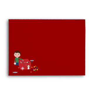 Cute Boy With Christmas Decoration Box Tree Envelope
