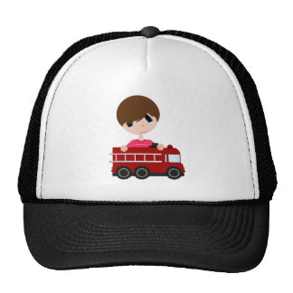 Cute, Boy with Fire Truck Hats