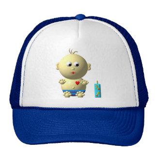 Cute boy with heart trucker hat