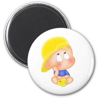 cute boy yellow cap fridge magnets