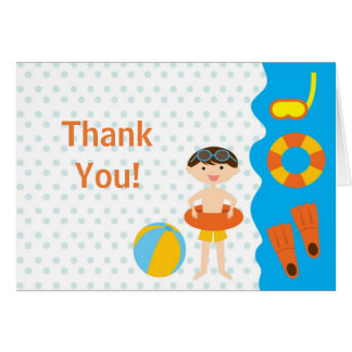 Cute BOyl Pool Party Thank You Note Greeting Card