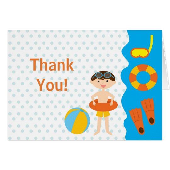 Cute BOyl Pool Party Thank You Note Card