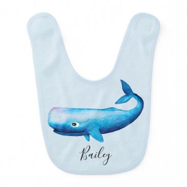 Beach Themed Cute Boy's Blue Sea Watercolor Whale Beach & Name Baby Bib
