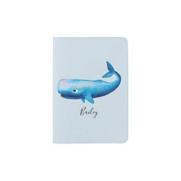 Beach Themed Cute Boy's Blue Sea Watercolor Whale Beach & Name Passport Holder