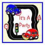 Cute Boys Cars Themed Party Invitation