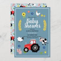 Cute Boys Country Farm Animal Tractor Baby Shower Invitation