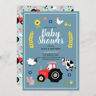 Cute Boys Country Farm Animal Tractor Baby Shower Invitation