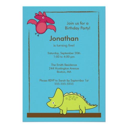 Cute Boys Dinosaur Birthday Party Invitation