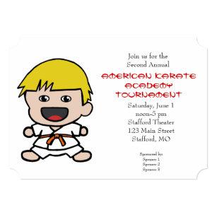 Karate tournament invitations announcements zazzle cute boys karate tournament invitation stopboris Images