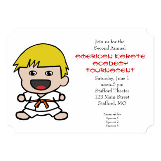 Cute Boys Karate Tournament Invitation