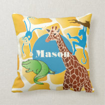 Cute Boy's Personalized Giraffe Monkey Alligator Throw Pillow
