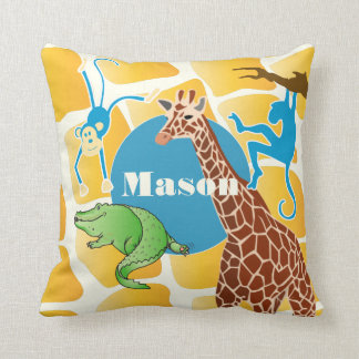 Cute Boy's Personalized Giraffe Monkey Alligator Throw Pillow