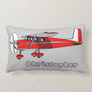 Cute Boy's Pillow, Red Airplane w/ Name Lumbar Pillow