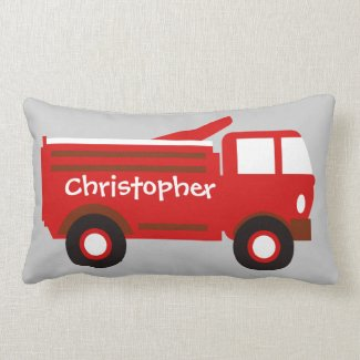Cute Boy's Pillow, Red Firetruck w/ Name Lumbar Pillow