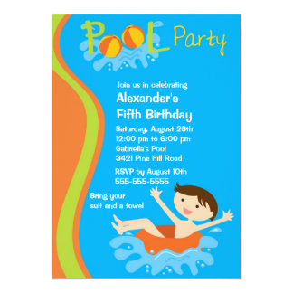 CUTE Boy's Pool Party Birthday Invitation