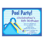 Cute Boys Pool Party Birthday Party Invitations