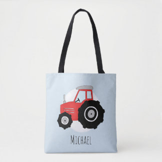 Cute Boy's Red Farmer's Tractor with Name Tote Bag