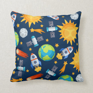 Cute Boys Space Rockets Planets and Stars Throw Pillow