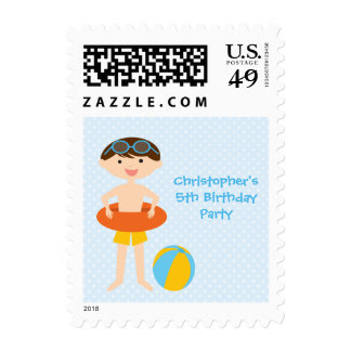 Cute boy's summer pool party birthday stamps