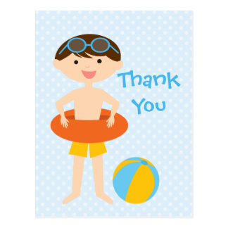 Cute boy's summer pool party thank you postcard