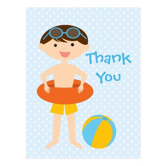 Cute boy's summer pool party thank you postcard