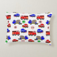 Cute Boys Toys Cars Trucks Fire Engines Design Accent Pillow