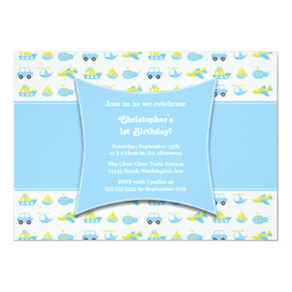 Cute boys travel time birthday party invitation