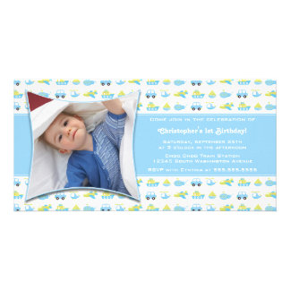 Cute boys travel time birthday party invitation customized photo card