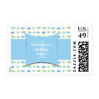 Cute boys travel time birthday party postage stamp