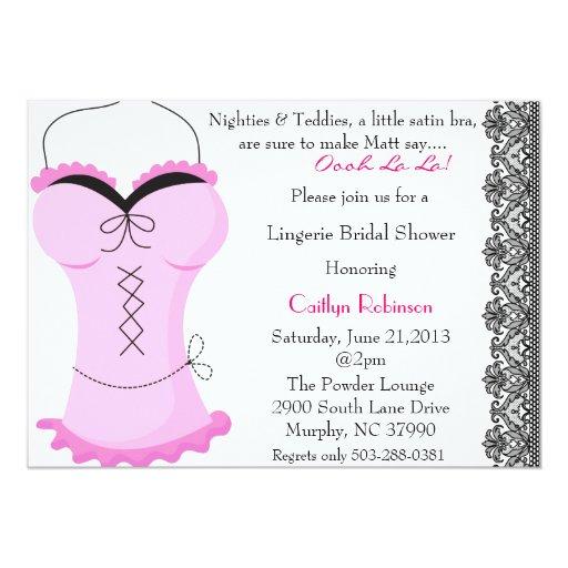 Cute bra lingerie bridal shower invitation zazzle for Lingerie bridal shower invitations