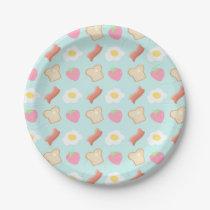 Cute Breakfast Pattern Paper Plate