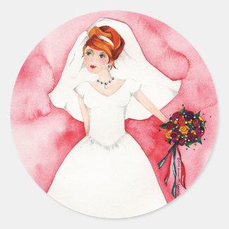 Cute Bridal Shower Bride Wedding Engagement Classic Round Sticker