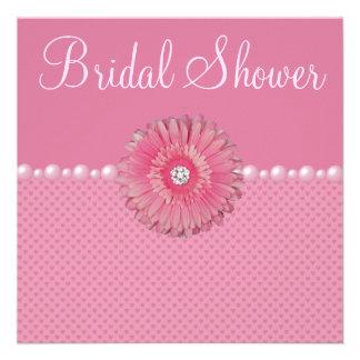 Cute Bridal Shower Pink Gebera Pearls Hearts Invitations
