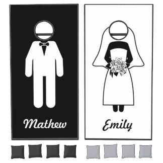 Cute Bride and Groom Black White Custom Wedding Cornhole Set