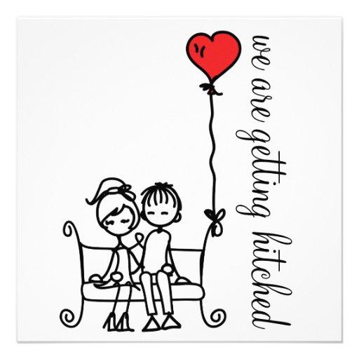 Cute Bride and Groom Doodles Wedding Invitation