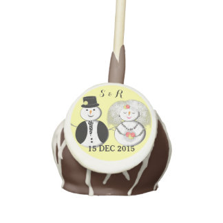 Cute Bride and Groom Mr and Mrs Snowman Cake Pops