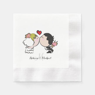 Cute Bride and Groom Coined Cocktail Napkin
