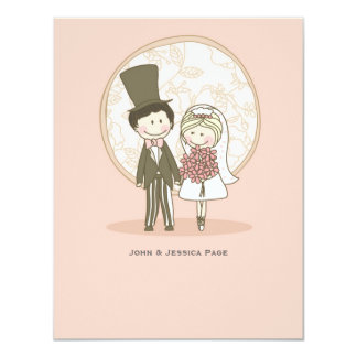 Cute Bride and Groom Personalized Thank You Noteca Card