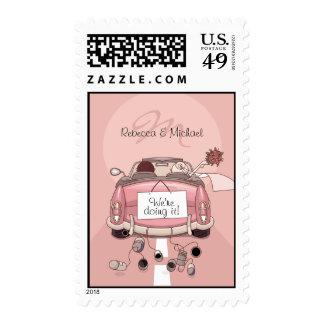 Cute Bride and Groom Pink Getaway car Postage
