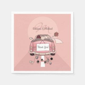 Cute Bride and Groom Pink Getaway Car Paper Napkins