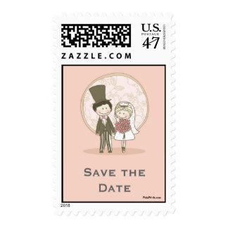Cute Bride and Groom Postage Stamp
