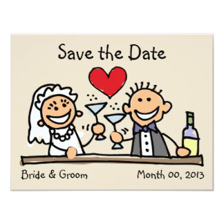 """Cute Bride and Groom Save the Date Cards 4.25"""" X 5.5"""" Invitation Card"""