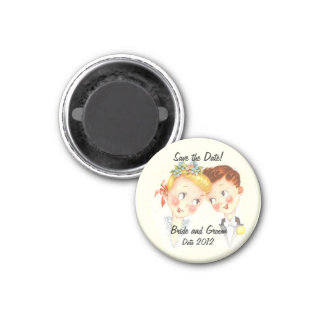 Cute Bride and Groom Save the Date Wedding Magnet