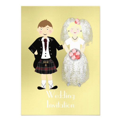 Cute Wedding Gifts For Bride And Groom : Cute Bride and Groom Scottish Wedding Theme Custom Invites Zazzle