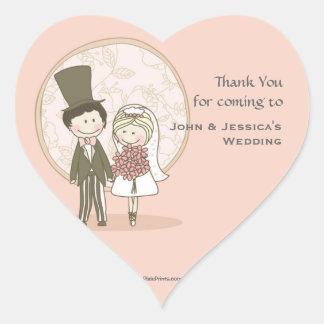 Cute Bride and Groom Sticker/Return Address Label Heart Sticker