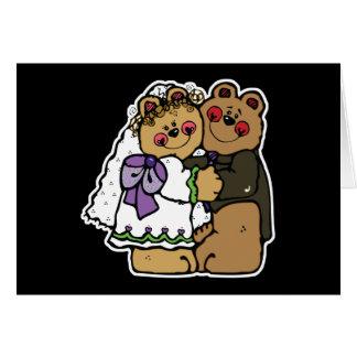 cute bride and groom teddy bear design card