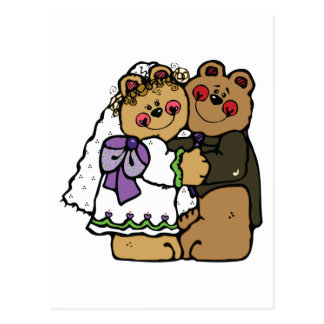 cute bride and groom teddy bear design postcard