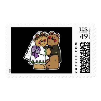 cute bride and groom teddy bear design stamp